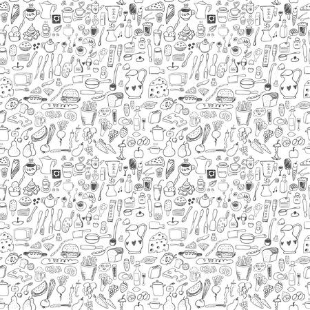 Voedsel pictogrammen naadloze patroon