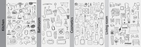 Badkamer, keuken, meubels en cosmetica voorwerpen