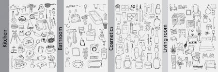 Bathroom, kitchen, furniture and cosmetics objects Vector