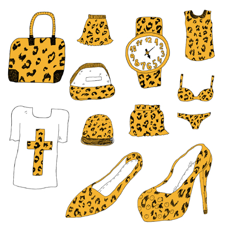 Leopard textured hand drawn clothes and accessory Stock Vector - 22544474