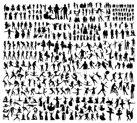 Big set of people silhouettes