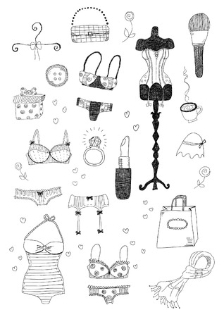 Women Accessories Set Vector