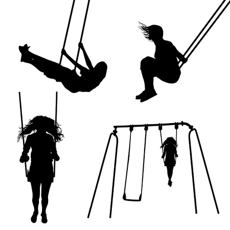 innocent girl: Girl on a swing silhouettes Illustration