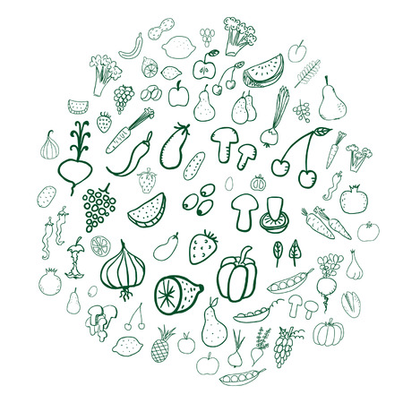 naturally: Vegetable and fruit doodles