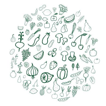 leek: Vegetable and fruit doodles