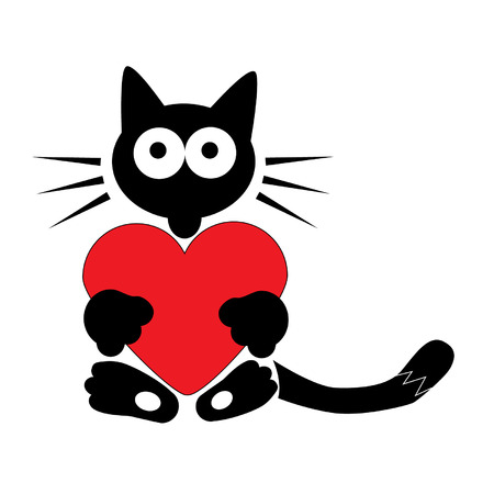 Black cat with heart Vector