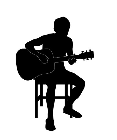 boy playing guitar: Boy playing the guitar Illustration