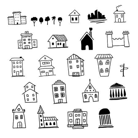 school website: Hand drawn house set