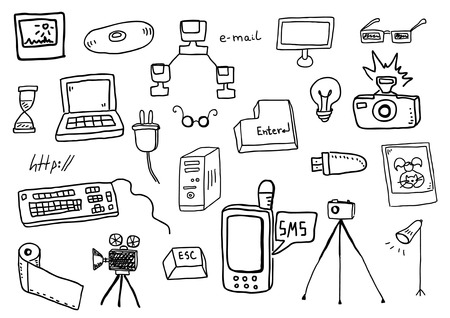 Vector hand drawn technology doodles Illustration
