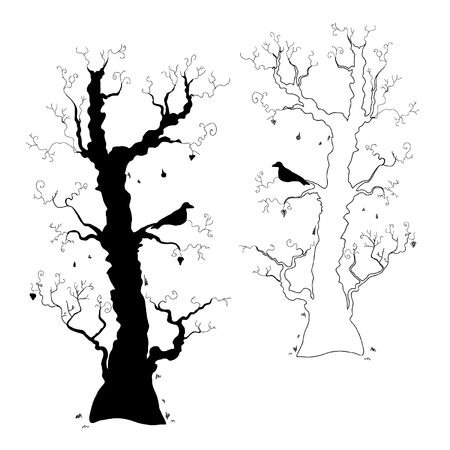 a bough: Halloween Trees Illustration