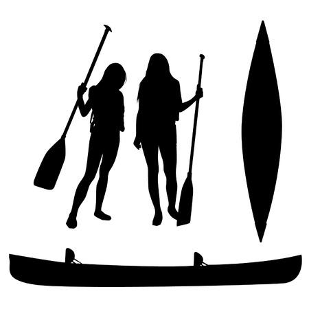 canoe: Girls and canoe silhouettes Illustration