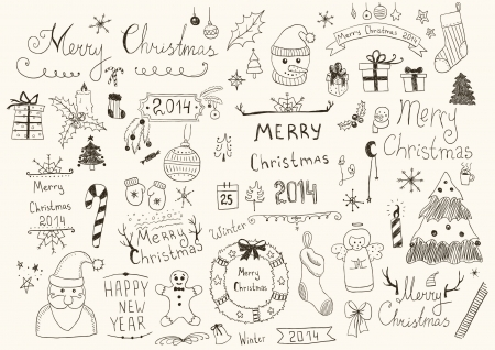 Merry Christmas Signs Collection Illustration