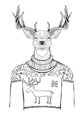 black-white deer Vector
