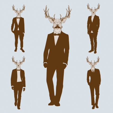 omini bianchi: Gli uomini con teste di cervo Vettoriali