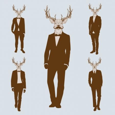 Mannen met herten hoofden Stock Illustratie