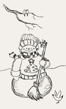Hand drawn snowman Vector