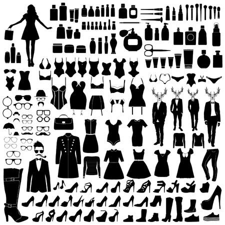 Collectie van mode-silhouetten Stock Illustratie