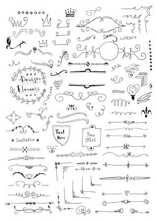 Hand drawn set of design elements