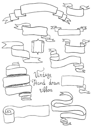 Hand drawn ribbons Vector