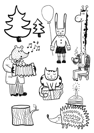 tree stump: Cartoon Animals