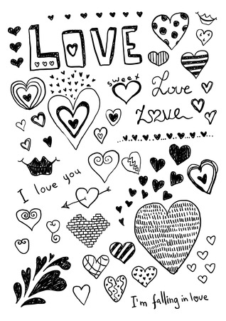 heart sketch: Heart Doodles