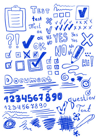 test paper: Set of hand drawn elements
