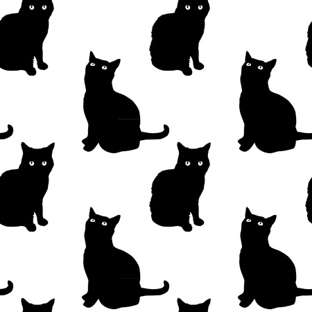black cat silhouette: Cats Seamless Pattern