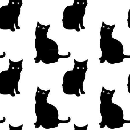silueta de gato: Gatos Modelo inconsútil de