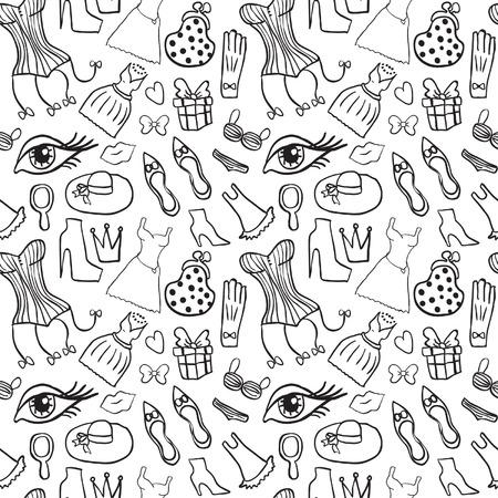 girly: Woman Accessories Seamless Pattern Illustration