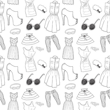 Women clothes and accessories seamless pattern Vector