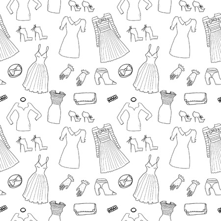 Women fashion clothes and accessories seamless pattern Vector