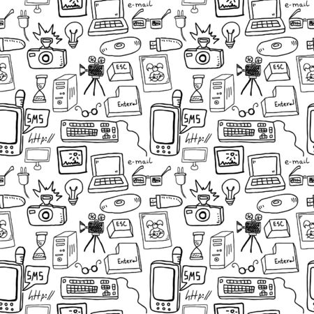 Technology doodles seamless pattern