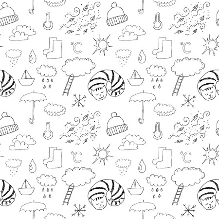 Weather Signs Seamless Pattern Vector