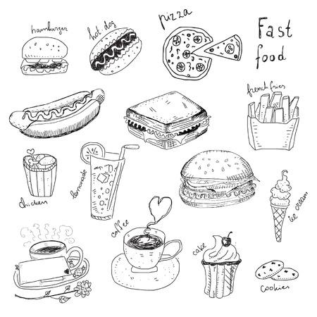 flower clip art: Fast Food Doodles Illustration