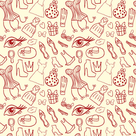 Woman Accessories Seamless Pattern Vector