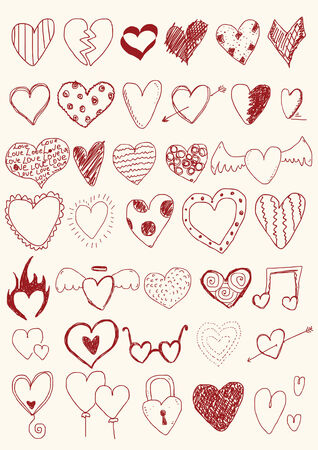 Hearts Doodles Vector