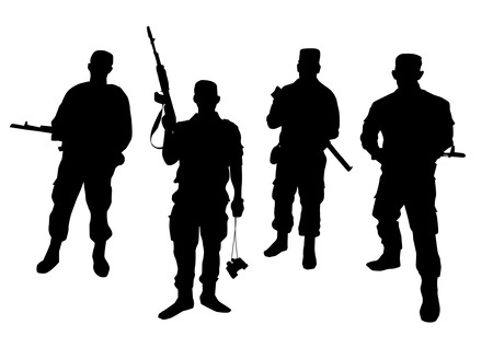 Set of soldiers silhouette Illustration