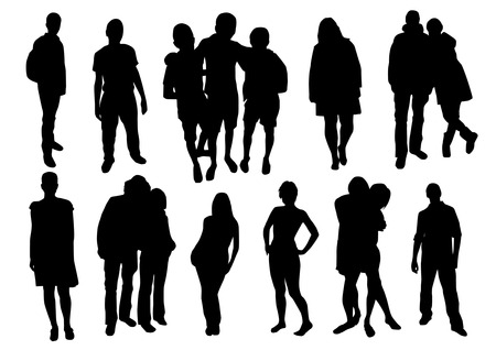 sexy young couple: Set of People Silhouettes