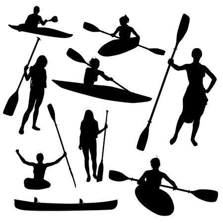 paddle: Canoe silhouettes