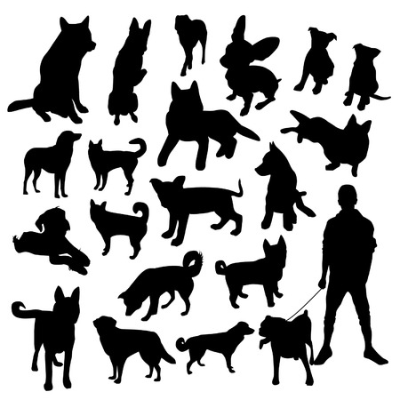 beagle terrier: Set of dogs silhouette
