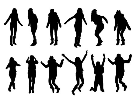 hands in the air: Jumping girl silhouettes