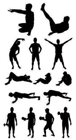 abdominal exercise: Man fitness silhouette Illustration