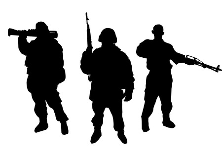 militant: Set of soldiers silhouette Illustration