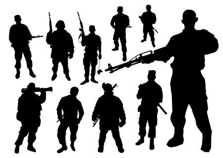 armed force: Soldiers silhouette