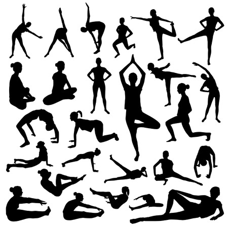 physical fitness: Woman fitness silhouette Illustration