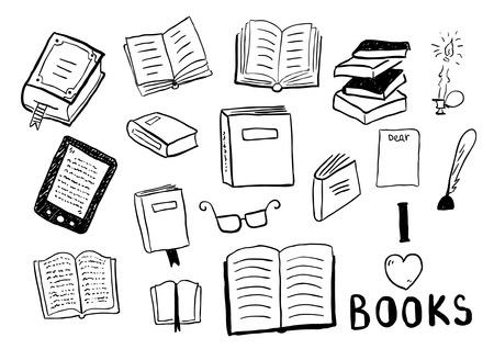 pencil doodle: Set of books doodles Illustration