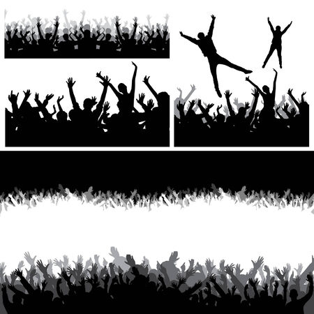 nightclub crowd: Jumping crowd Illustration