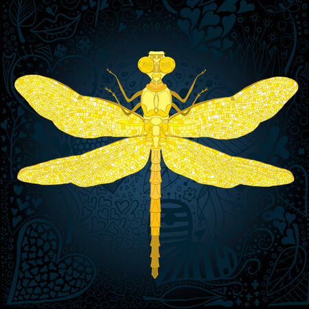 Golden dragonfly on floral background Vector