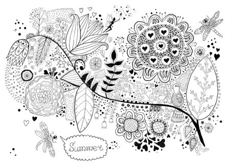 Flora  Hand Drawn Doodle Vector
