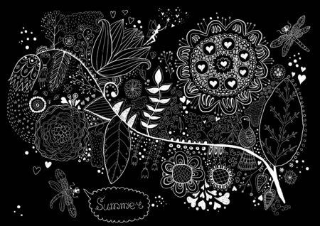 Flora. Hand Drawn Doodle Vector